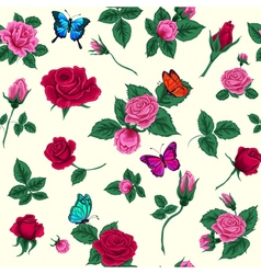 Floral Seamless Pattern Flowers and Butterflies vector