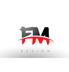 Fm f m brush logo letters with red and black vector