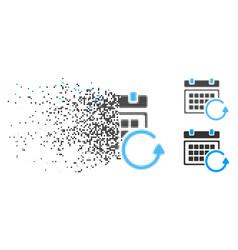 Fragmented pixel halftone update calendar icon vector