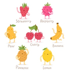Funny cartoon fruits collection vector image