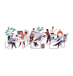 group office workers sitting at desks and vector image