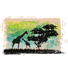 grunge background with african fauna and flora vector image