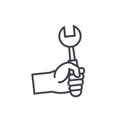 hand with screwdriver line icon sign vector image