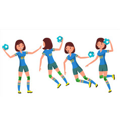 handball female player playing in vector image