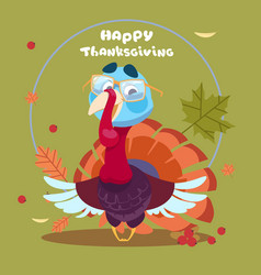 happy thanksgiving day autumn traditional harvest vector image