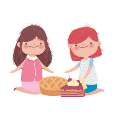 happy thanksgiving day cute little girls with pie vector image
