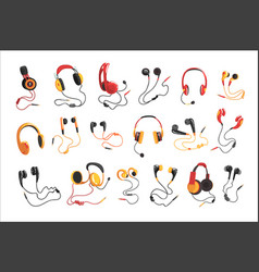 headphones and earphones set music technology vector image