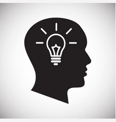 Human head with idea bulb icon on white background vector