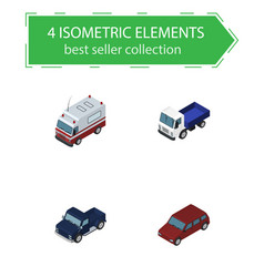 isometric car set of first-aid lorry suv and vector image