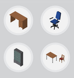 Isometric design set of office table sideboard vector