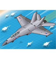 Isometric Fighter Bomber in Flight in Front View vector image