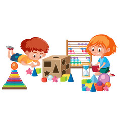 Kids playing with math toy vector