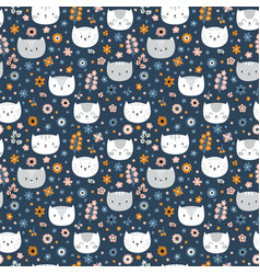 kids seamless pattern with cats funny animals on vector image