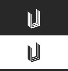 Letter u logo isometric geometric shape vector