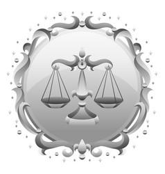 Libra zodiac sign with silver frame horoscope vector