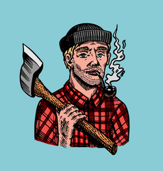 Lumberjack with an ax in a red shirt feller or vector