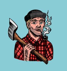 Lumberjack with an ax in a red shirt feller vector