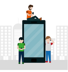 Man and smartphone vector