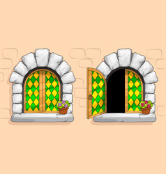Medieval window green stained glass white stones vector
