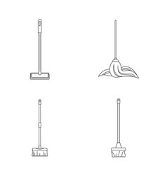 mop cleaning swab icons set outline style vector image