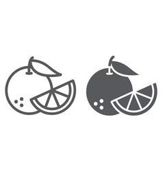orange fruit line and glyph icon fruit vector image