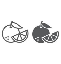 orange fruit line and glyph icon fruit vector image