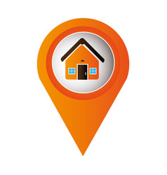 Orange mark icon pointer gps with circular button vector