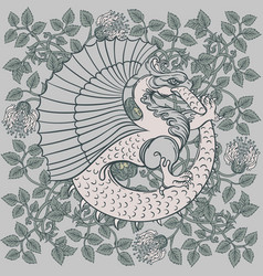 Ouroboros serpent or dragon eating its own tail vector