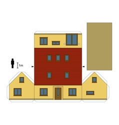 Paper model of a family house vector