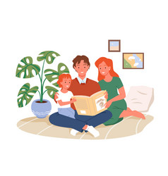 parents reading book to kid happy parenting vector image