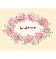 Peonies frame on color background vector