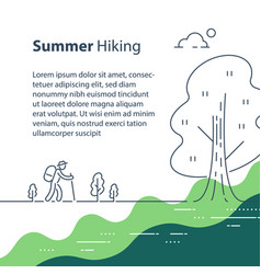 person with backpack trail walking summer hiking vector image