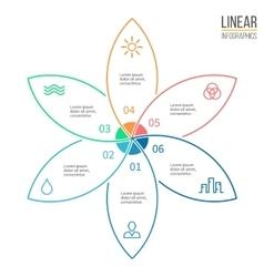 Pie chart with 6 petals design element vector