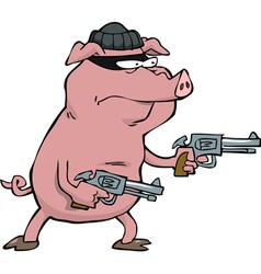 Pig robber with guns vector