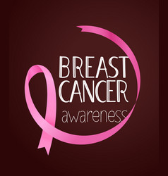 Pink ribbon on dark background breast cancer vector