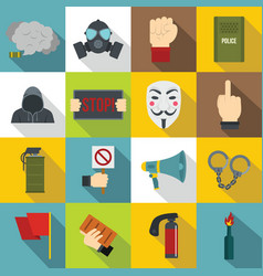 protest icons set flat style vector image