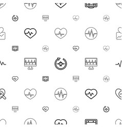 Pulse icons pattern seamless white background vector