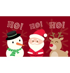 Santa Claus Snowman Reindeer Christmas Cartoon vector image