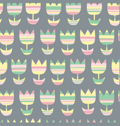 scandinavian geometric seamless floral pattern vector image