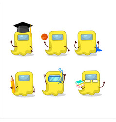School student ghost among us yellow cartoon vector