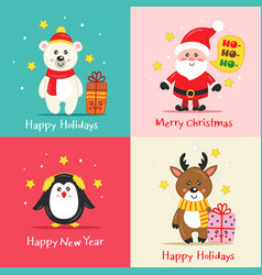 set christmas cards with cute characters vector image