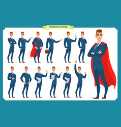 set of businessmen presenting in various action vector image