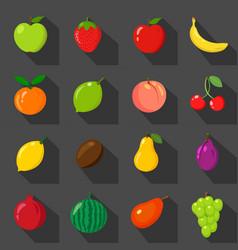 Set of flat icons fresh natural fruits black vector