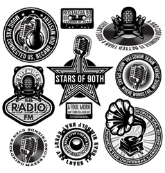 Set of retro badges templates gramofon vector