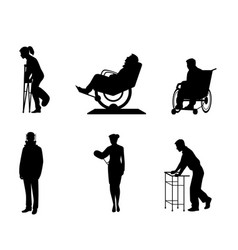 silhouettes sick people vector image