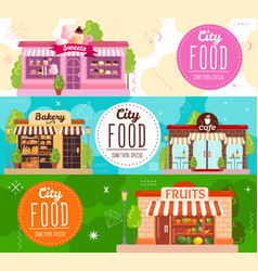 Stores showcases horizontal banners vector