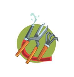 Symbols of the gardener profession water hose vector