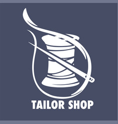 Tailor fashion shop icon thread coil and needle vector