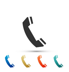 telephone handset icon isolated phone sign vector image