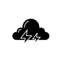 thunderstorm black icon sign on isolated vector image